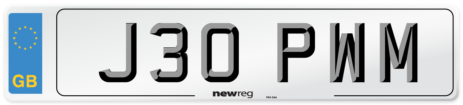 J30 PWM Number Plate from New Reg