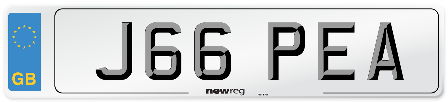 J66 PEA Number Plate from New Reg