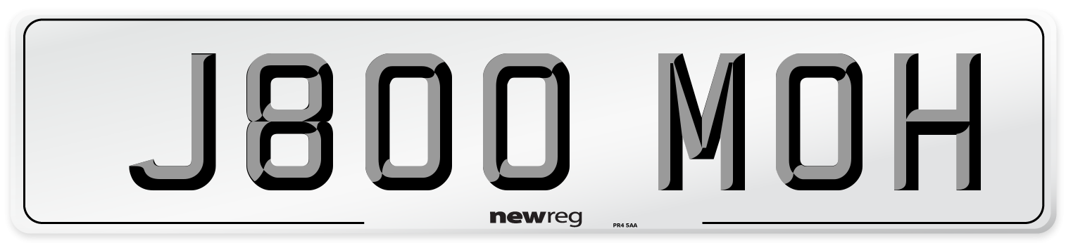 J800 MOH Number Plate from New Reg