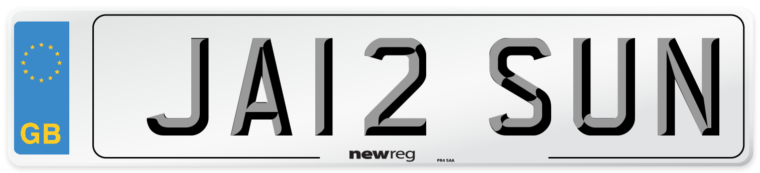 JA12 SUN Number Plate from New Reg