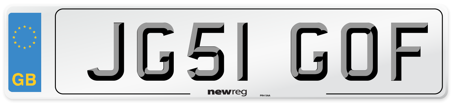 JG51 GOF Number Plate from New Reg