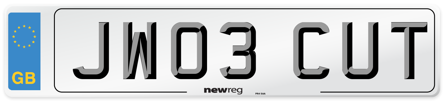 JW03 CUT Number Plate from New Reg