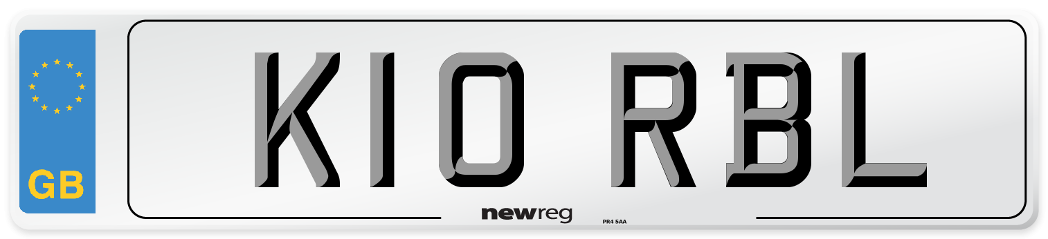 K10 RBL Number Plate from New Reg