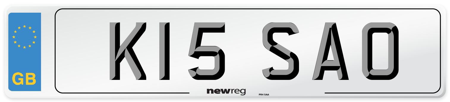 K15 SAO Number Plate from New Reg