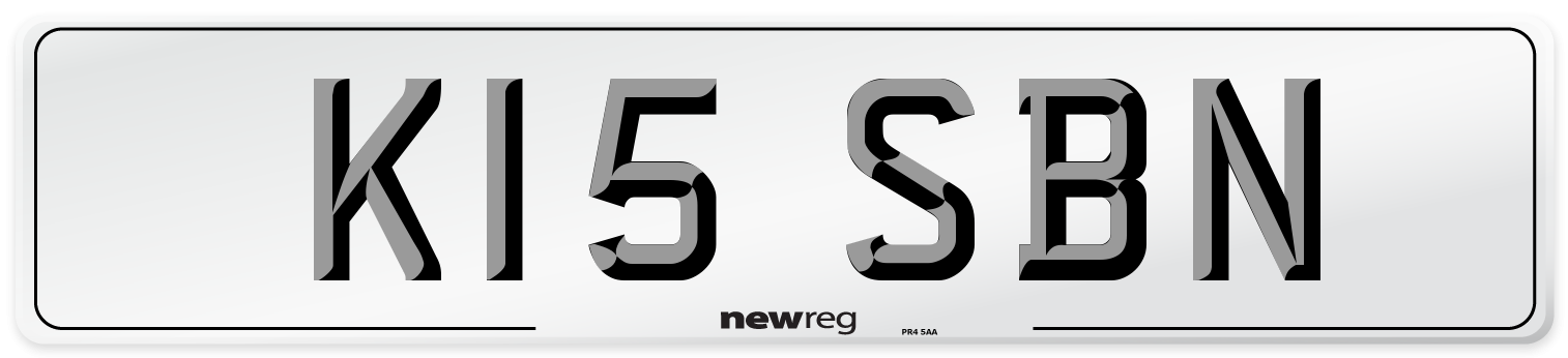 K15 SBN Number Plate from New Reg