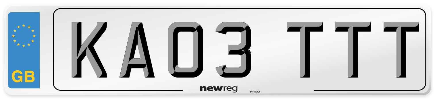 KA03 TTT Number Plate from New Reg