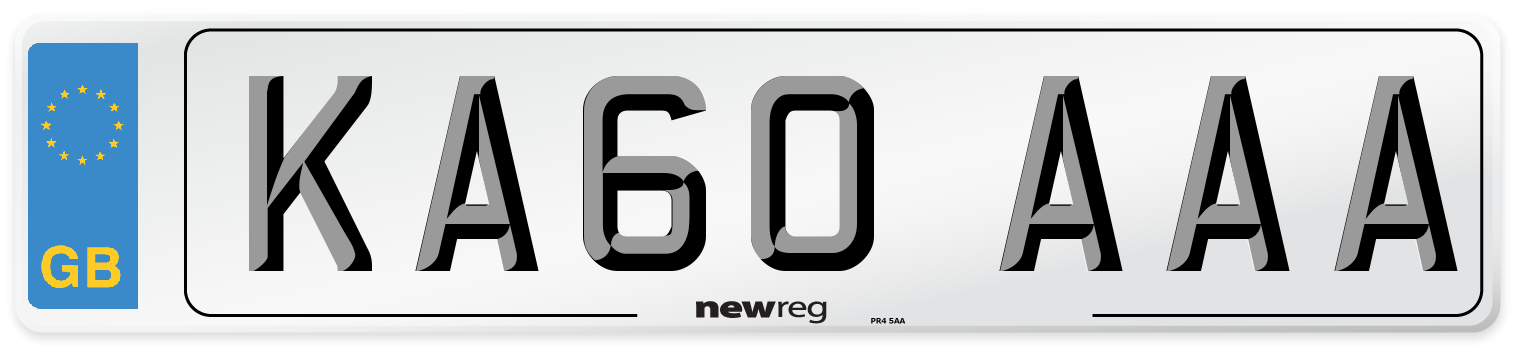 KA60 AAA Number Plate from New Reg