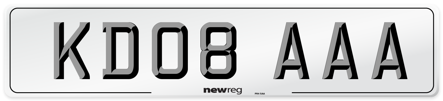 KD08 AAA Number Plate from New Reg