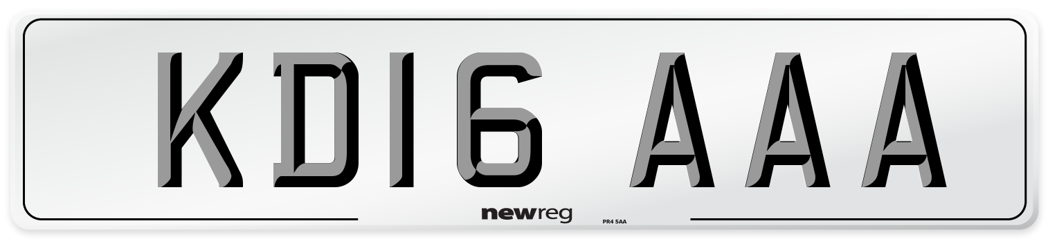 KD16 AAA Number Plate from New Reg