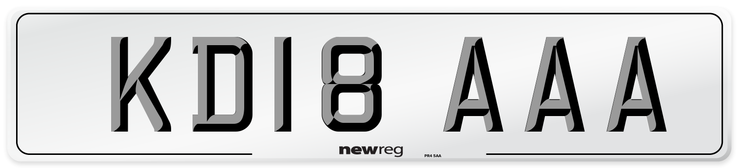 KD18 AAA Number Plate from New Reg