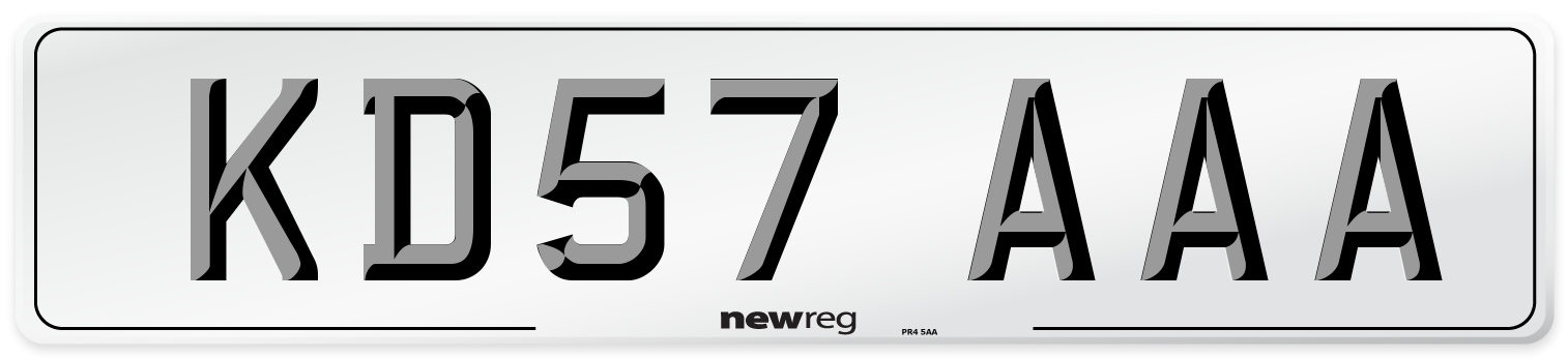 KD57 AAA Number Plate from New Reg