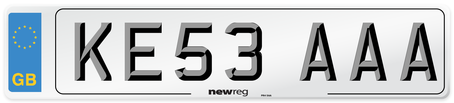 KE53 AAA Number Plate from New Reg