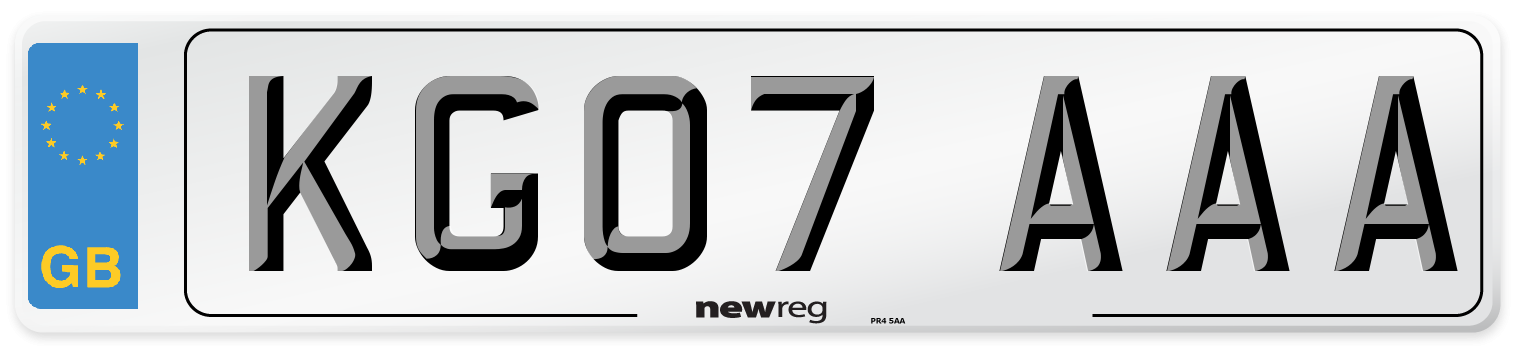 KG07 AAA Number Plate from New Reg