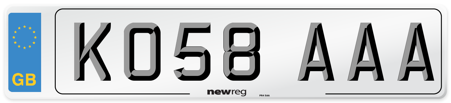 KO58 AAA Number Plate from New Reg