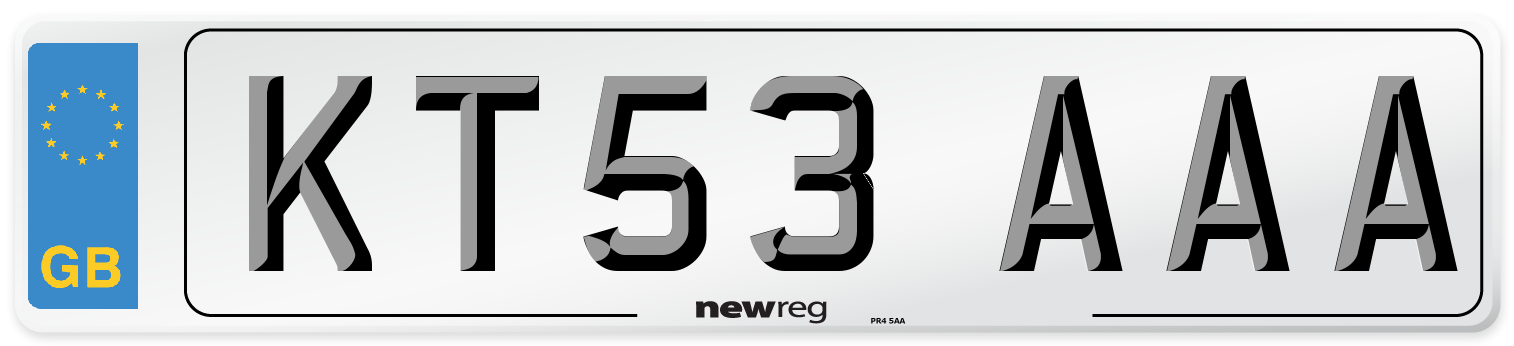 KT53 AAA Number Plate from New Reg