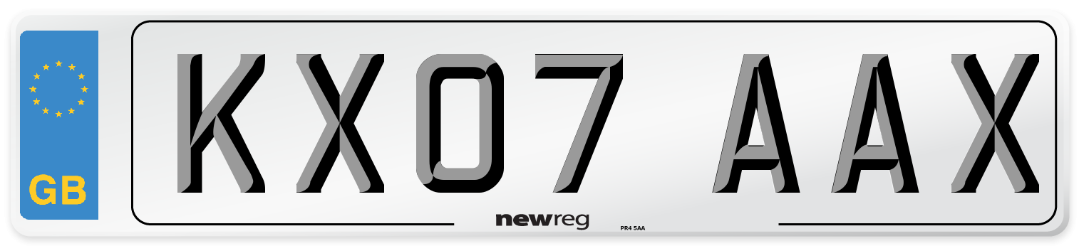 KX07 AAX Number Plate from New Reg