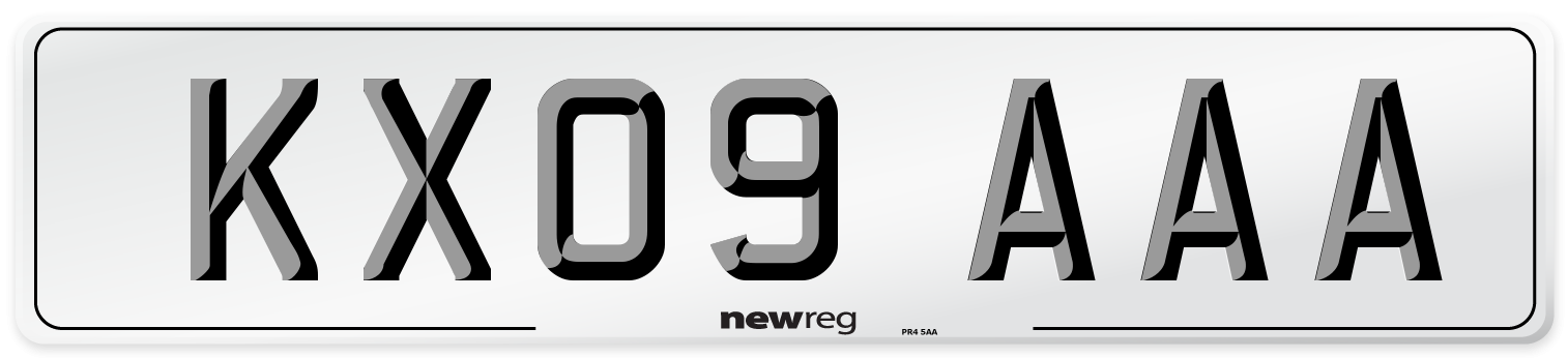KX09 AAA Number Plate from New Reg