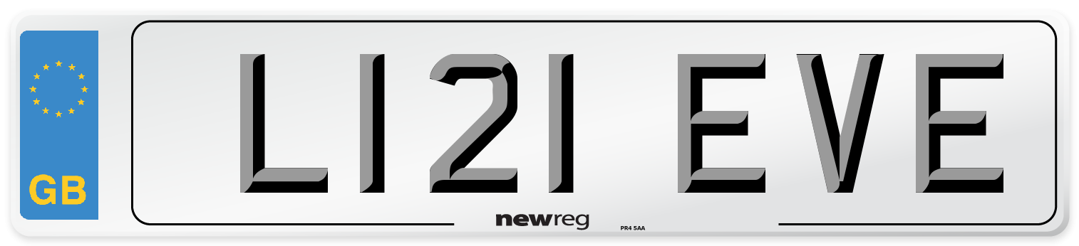 L121 EVE Number Plate from New Reg