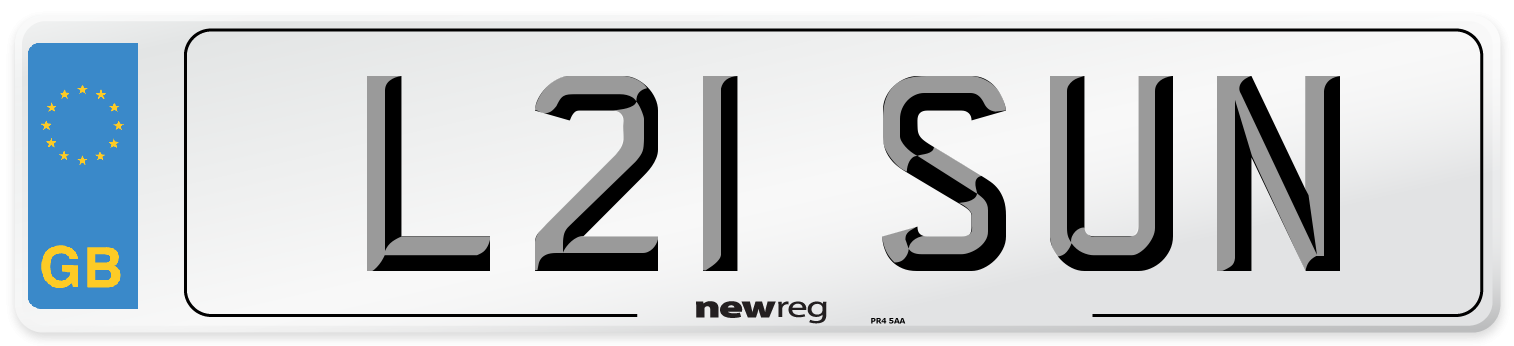 L21 SUN Number Plate from New Reg