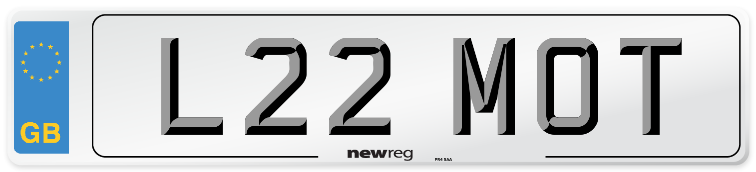 L22 MOT Number Plate from New Reg