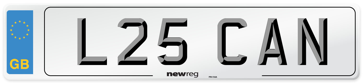 L25 CAN Number Plate from New Reg