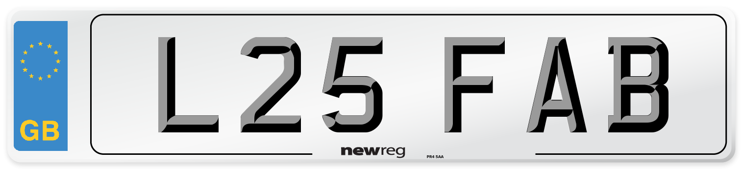 L25 FAB Number Plate from New Reg