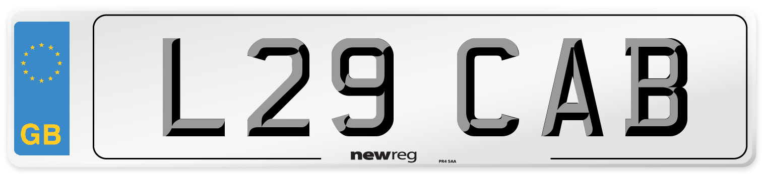 L29 CAB Number Plate from New Reg
