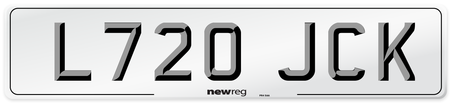L720 JCK Number Plate from New Reg
