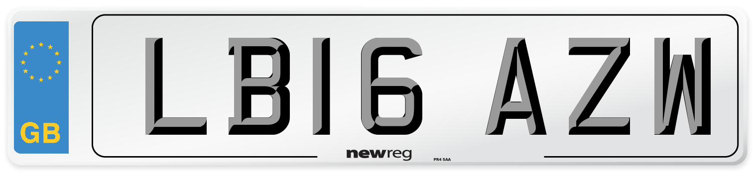 LB16 AZW Number Plate from New Reg