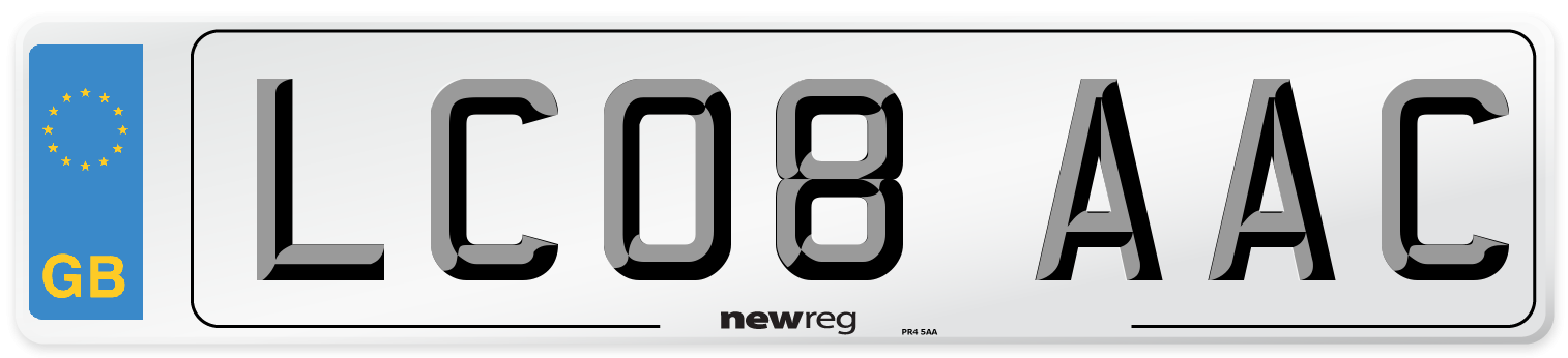 LC08 AAC Number Plate from New Reg