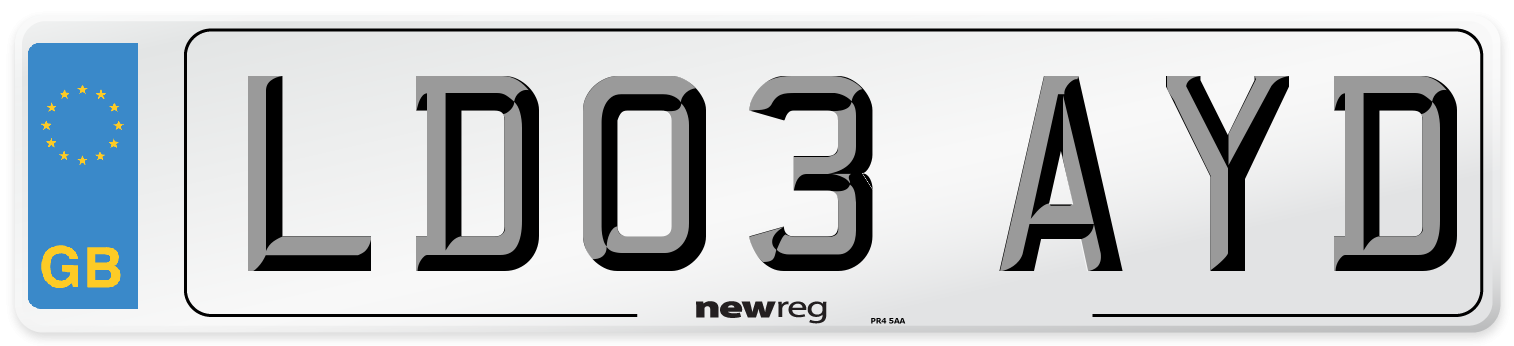 LD03 AYD Number Plate from New Reg