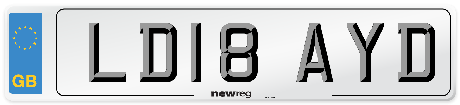 LD18 AYD Number Plate from New Reg