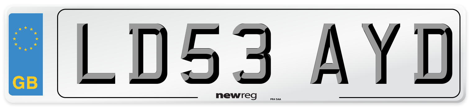 LD53 AYD Number Plate from New Reg