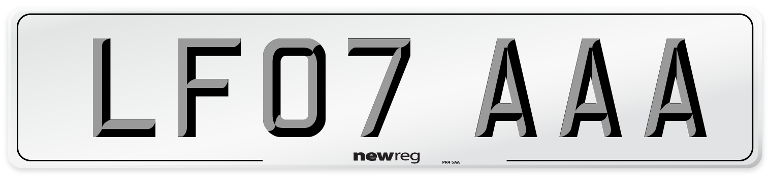 LF07 AAA Number Plate from New Reg