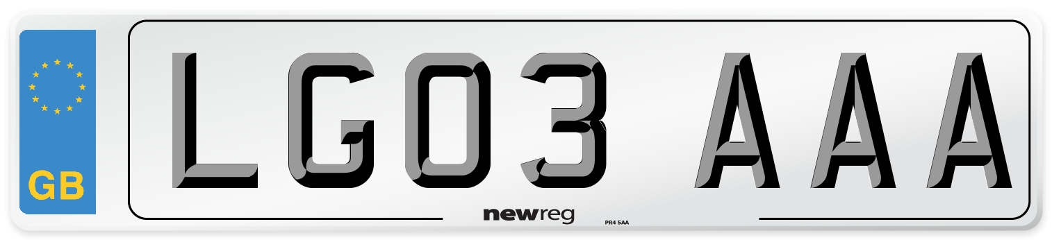 LG03 AAA Number Plate from New Reg