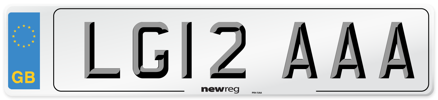 LG12 AAA Number Plate from New Reg