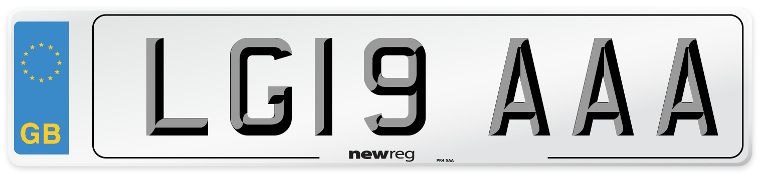 LG19 AAA Number Plate from New Reg