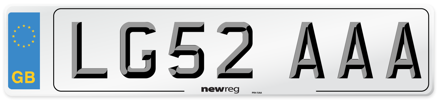LG52 AAA Number Plate from New Reg