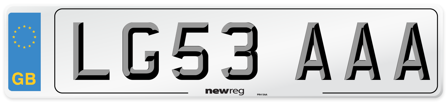 LG53 AAA Number Plate from New Reg