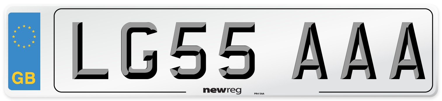 LG55 AAA Number Plate from New Reg