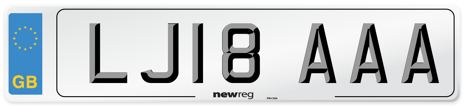 LJ18 AAA Number Plate from New Reg