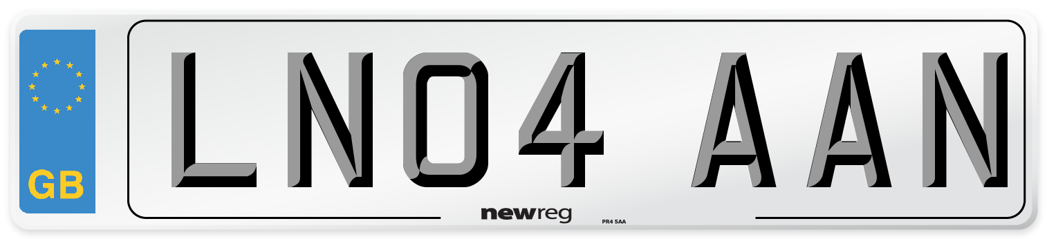 LN04 AAN Number Plate from New Reg