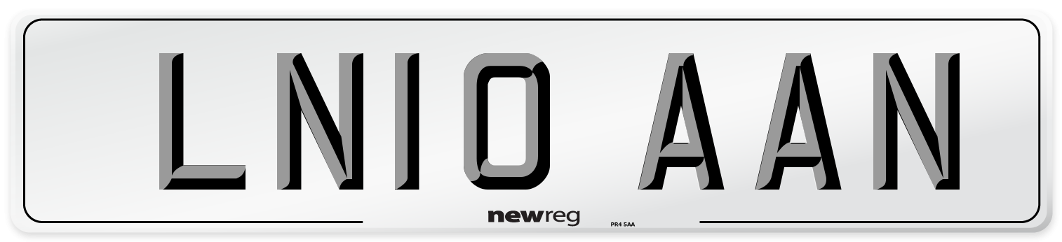 LN10 AAN Number Plate from New Reg