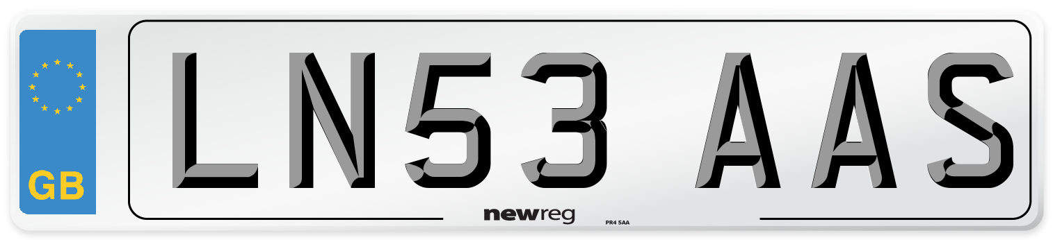 LN53 AAS Number Plate from New Reg