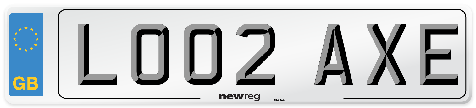 LO02 AXE Number Plate from New Reg