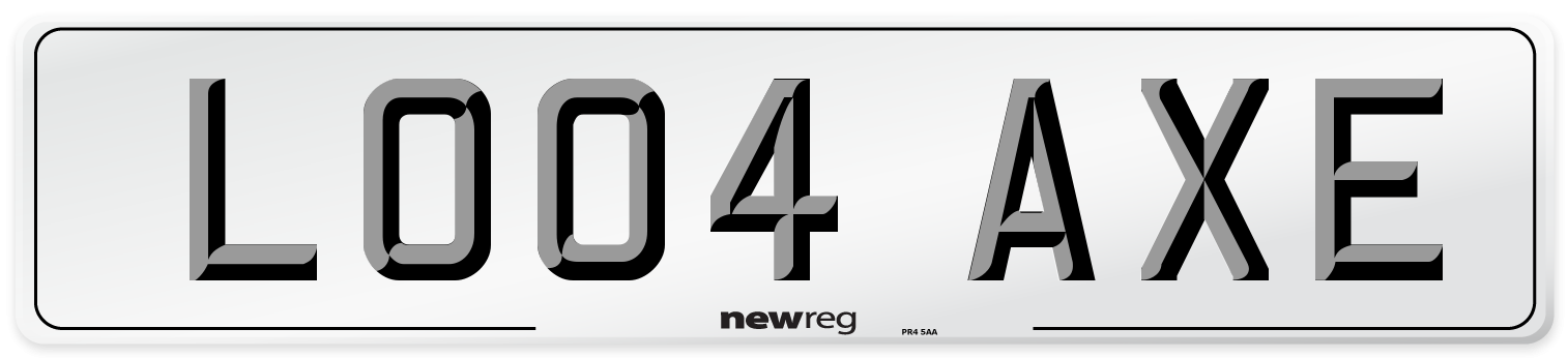 LO04 AXE Number Plate from New Reg