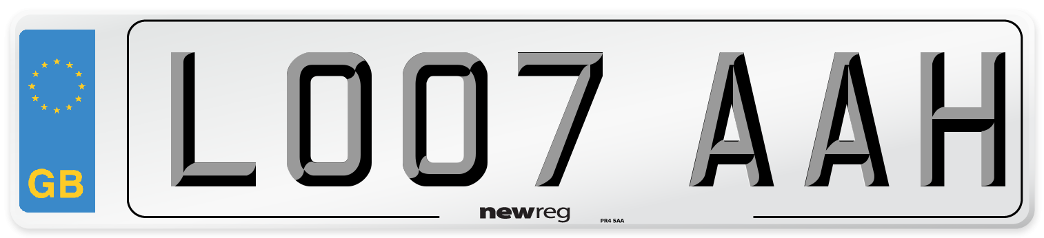 LO07 AAH Number Plate from New Reg