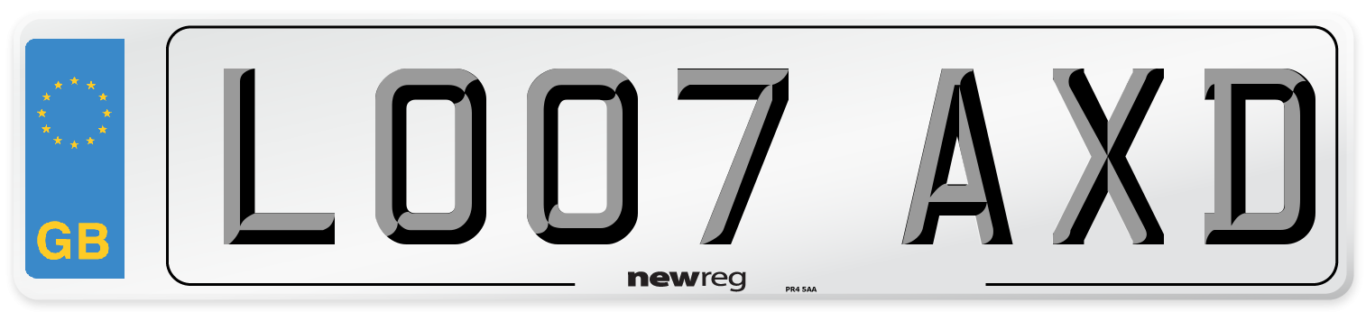 LO07 AXD Number Plate from New Reg