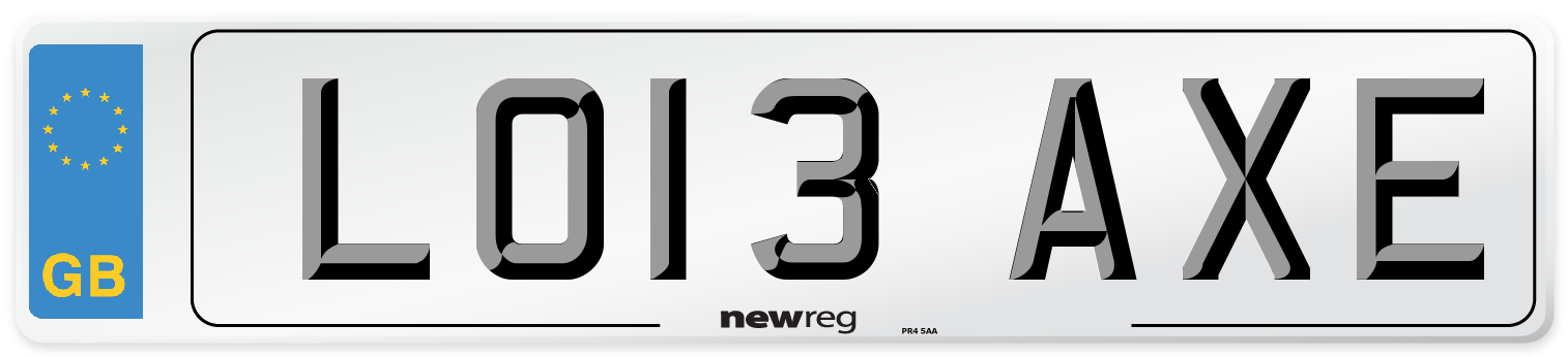 LO13 AXE Number Plate from New Reg