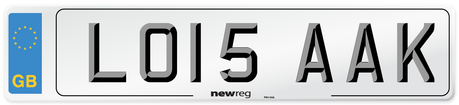 LO15 AAK Number Plate from New Reg